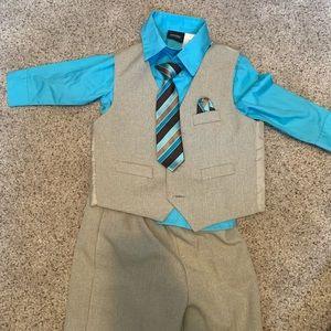 EUC 4-Piece 24M Khaki Suit with Blue Shirt